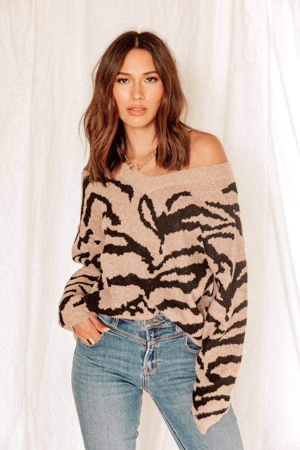 Open Road Zebra Sweater