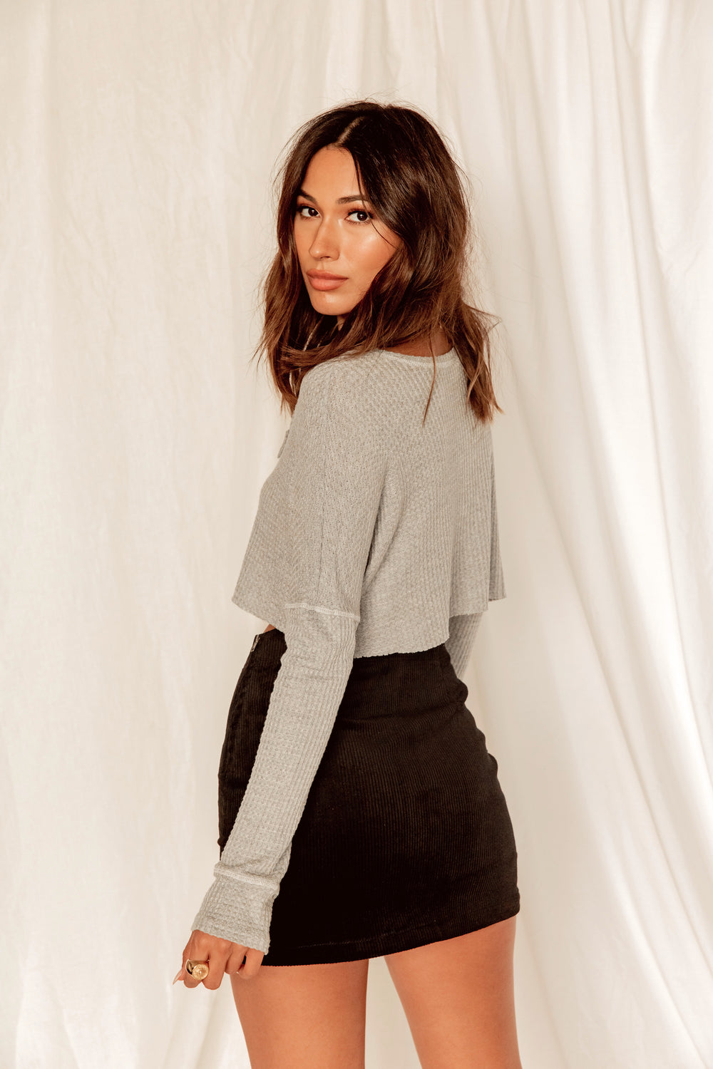Boy Meets Girl Grey Long Sleeve Crop