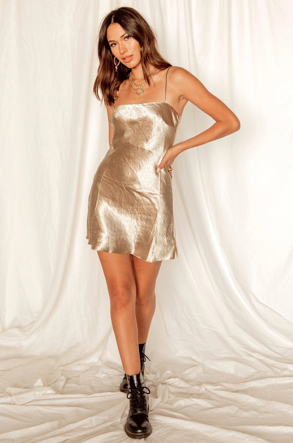 Aphrodite Gold Mini Dress