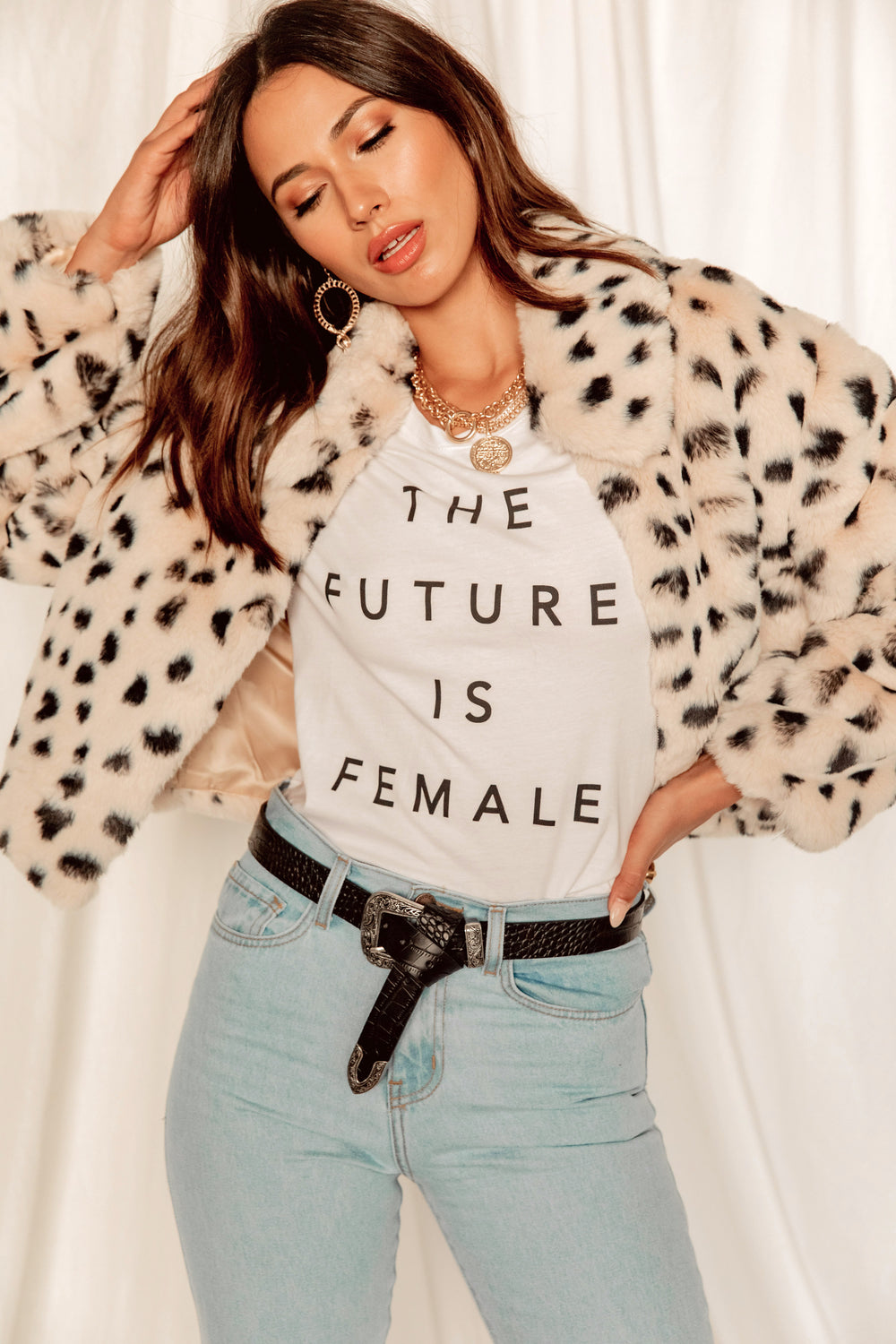 Almost Famous Dalmation Faux Fur Jacket