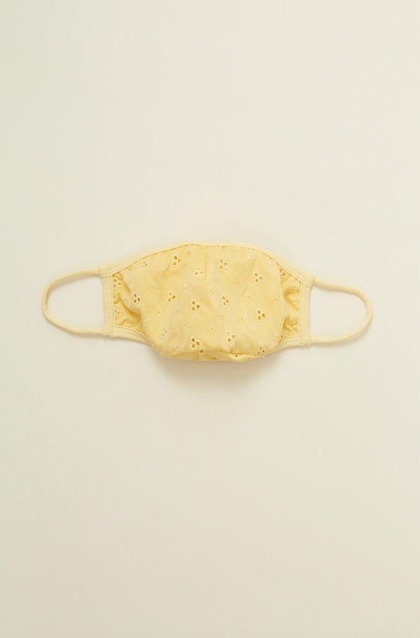 Capri Pastel Yellow Eyelet Face Mask