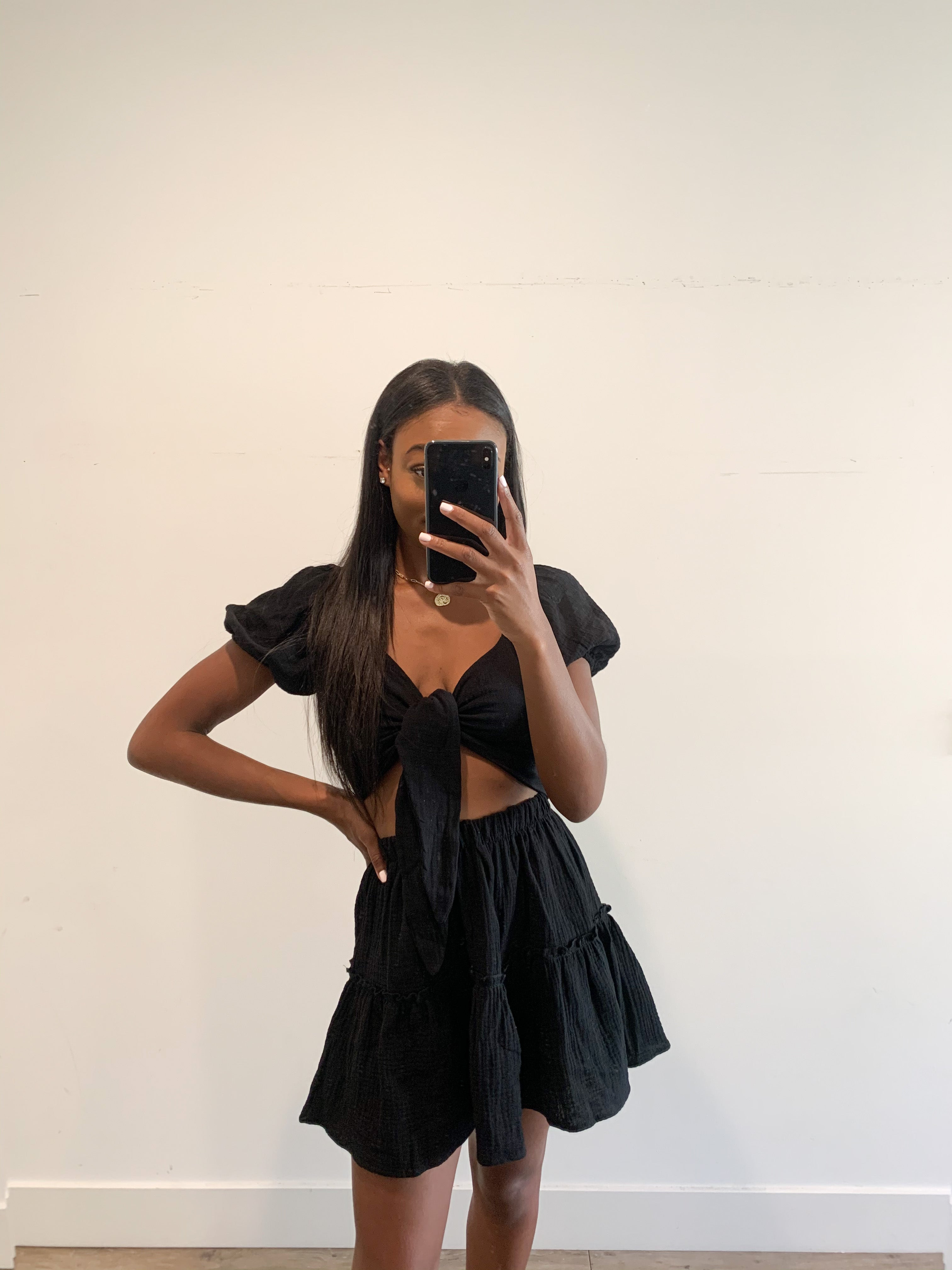 La Spezia Black Tie Crop Top