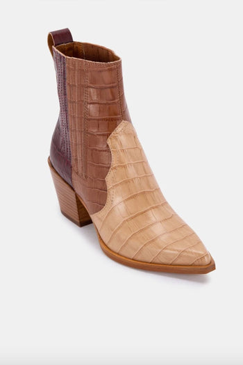 Serna Brown Multi Croc Bootie