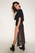 East N West Indigo Cape Skirt in Black Mirror