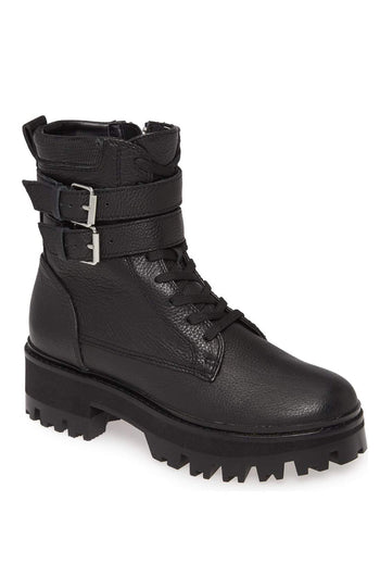 Dolce Vita Paline Black Leather Combat Boot