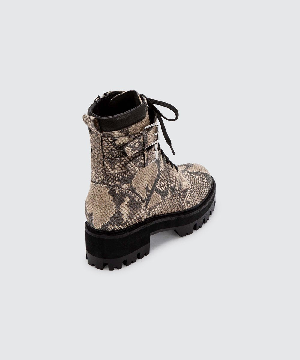 Dolce Vita Paline Snake Leather Combat Boot