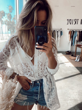 Coast to Coast Lace Button Down Top