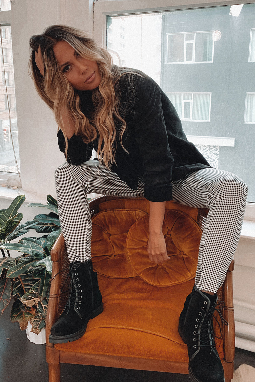 Lacey Checkered Skinny Pants
