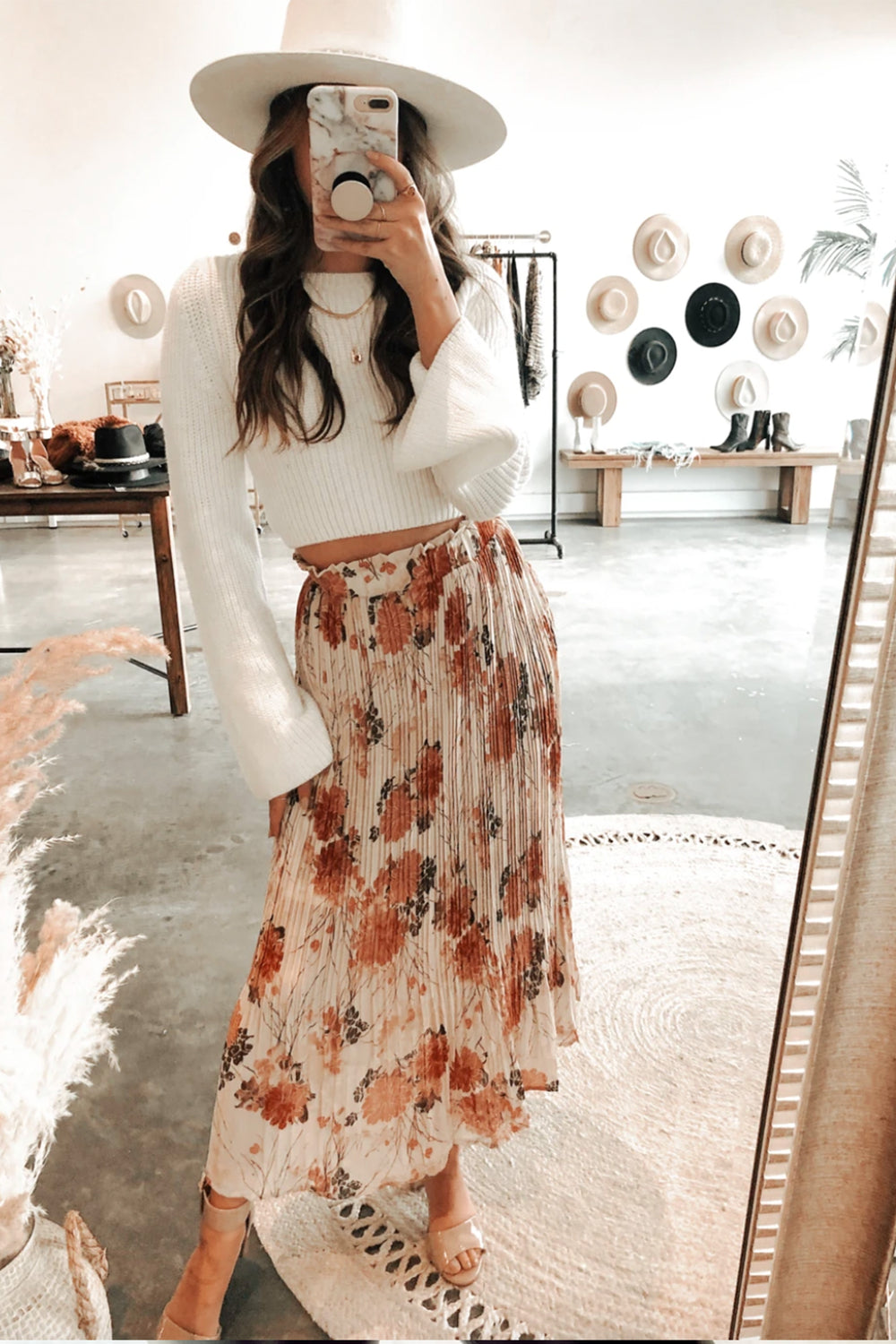 Wandering Lovers Floral Midi Skirt