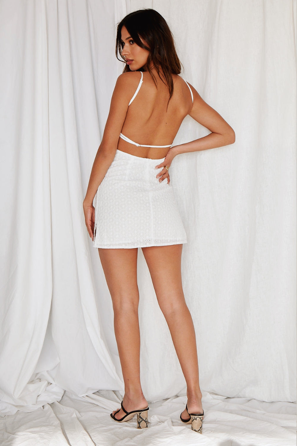 Sevilla White Eyelet Mini Dress