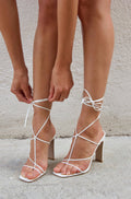 Billini Yvette White Lace Up Heels