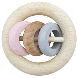 Hess-Spielzeug Rattle Round - 3 Rings Natural Pink - Eco Child