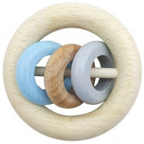 Hess Spielzeug - Rattle Round 3 Rings - Natural Blue - Eco Child