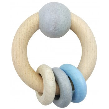 Hess-Spielzeug Rattle Round With Ball & 3 Rings Natural Blue