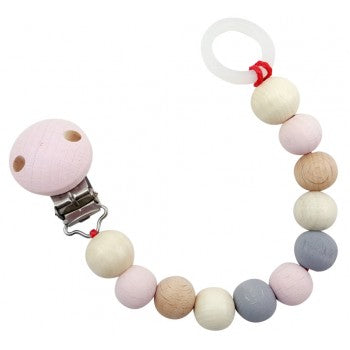 Hess-Spielzeug Pacifier Chain Natural Pink