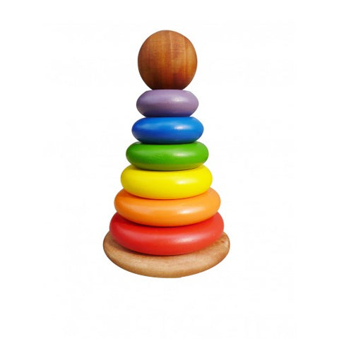 Qtoys -  Wooden Rainbow Stacking Rings - Eco Child