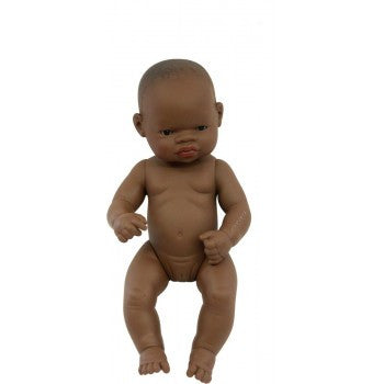 Miniland - Anatomically Correct Baby Doll - African Girl  32cm ( Undressed )