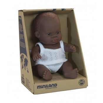 Miniland - Anatomically Correct Baby Doll 21cm - African Boy