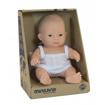 Miniland - Anatomically Correct Baby Doll - Asian Girl 21cm - Eco Child