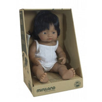 Miniland - Anatomically Correct Baby Doll - Latin American Girl 38cm - Eco Child