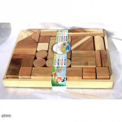 Qtoys - Natural Wooden Blocks - 34pcs