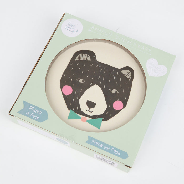 Love Mae - Bamboo 4pk Plates - Mama and Papa Bear