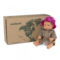 Miniland  - Baby Doll 32cm - Caucasian Girl  and Outfit Boxed - Eco Child