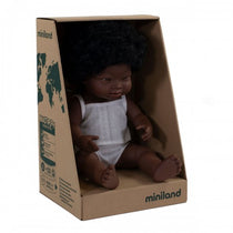 Miniland - Anatomically Correct Baby Doll - African Girl Down Syndrome 38cm - Eco Child