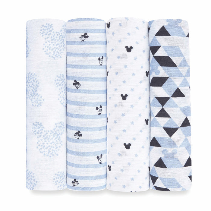 ADEN by Aden and Anais -Muslin Cotton Swaddle 4 Pack - DIsney Baby Graphic Micki