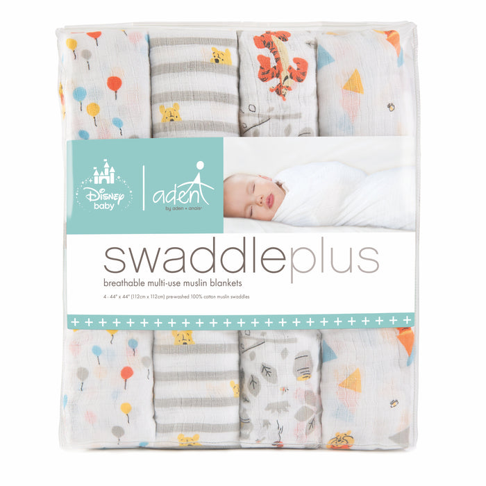 ADEN by Aden and Anais -Muslin Cotton Swaddle 4 Pack - DIsney Baby Graphic Winnie the Pooh