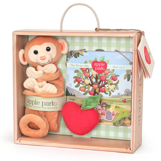 Apple Park - Blankie, Book And Rattle Gift Crate - Monkey
