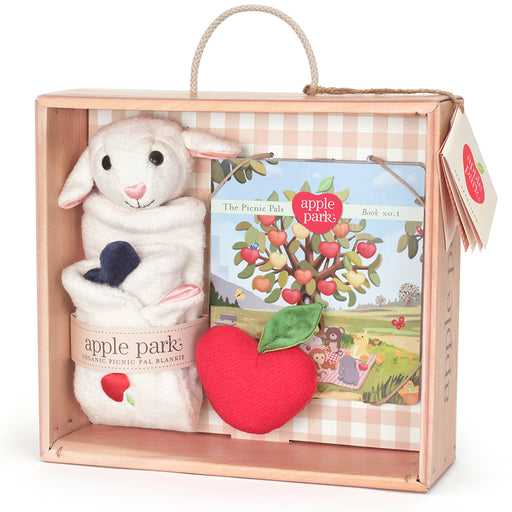 Apple Park - Blankie, Book And Rattle Gift Crate - Lamby