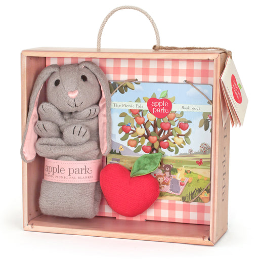 Apple Park - Blankie, Book And Rattle Gift Crate - Bunny