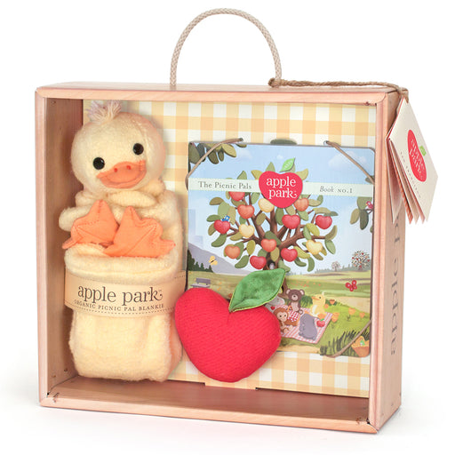 Apple Park - Blankie, Book And Rattle Gift Crate - Ducky