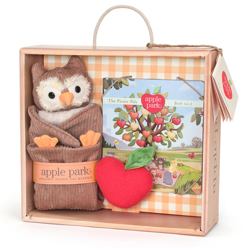 Apple Park - Blankie, Book And Rattle Gift Crate - Owl