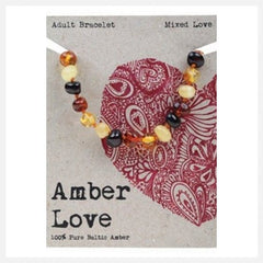 Amber Love - 100% Pure Genuine Baltic Amber bracelet/anklet - Mixed Love