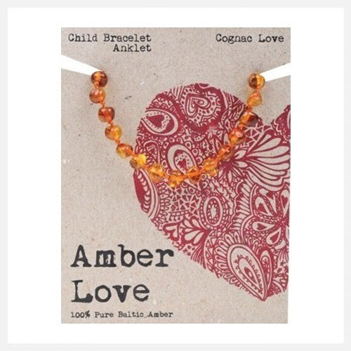 Amber Love - 100% Pure Genuine Baltic Amber bracelet/anklet - Cognac Love