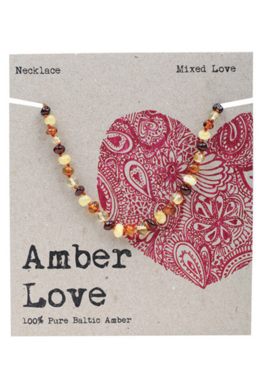 Amber Love - 100% Pure Genuine Baltic Amber Necklace - Mixed Love