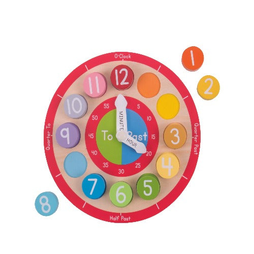 Bigjigs Toys - Teaching Clock, , activity, Best Sellers, Bigjigs, educational, Toys, Wooden Toys, Toys, wooden toys for babies, baby toys, newborn toys, baby wooden toys, wooden toys, sustainable, Eco friendly, environment friendly, Eco, Natural, eco products in Australia