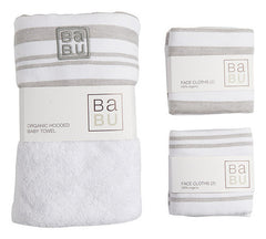 Babu - Bathing Gift Box Muslin Terry - Grey stripe