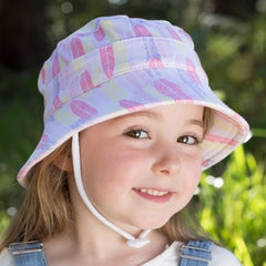 Bedhead Hats - Girls Ponytail Bucket Hat with Strap - Feather
