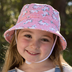 Bedhead Hats - Girls Ponytail Bucket Hat with Strap - Unicorn