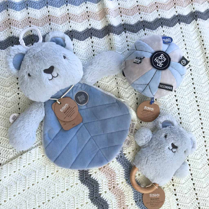 OB Designs - Dingaring Teething Rattle - Beau Bear - Blue