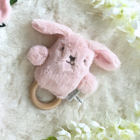 OB Designs - Dingaring Teething Rattle - Betsy Bunny - Pink - Eco Child