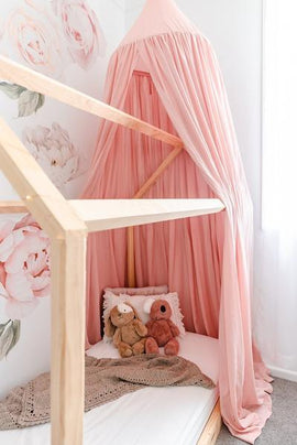 OB Designs - Handmade Boho Luxurious Canopies - Rose Petal Pink Linen Canopy - Eco Child