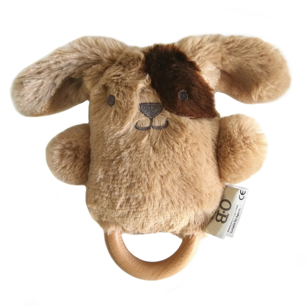 OB Designs - Dingaring Teething Rattle - Dave Dog Brown - Eco Child