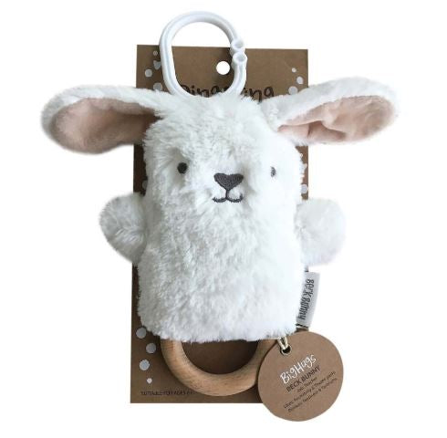 OB Designs - Dingaring Teething Rattle - Beck Bunny - White