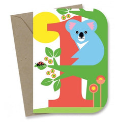 Earth Greetings - 100% Earth Friendly Gift Cards - 1st Birthday - Koala