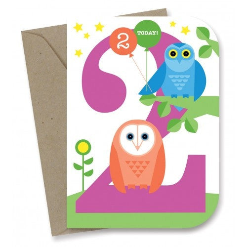 Earth Greetings - 100% Earth Friendly Gift Cards - 2nd Birthday - Night Owls