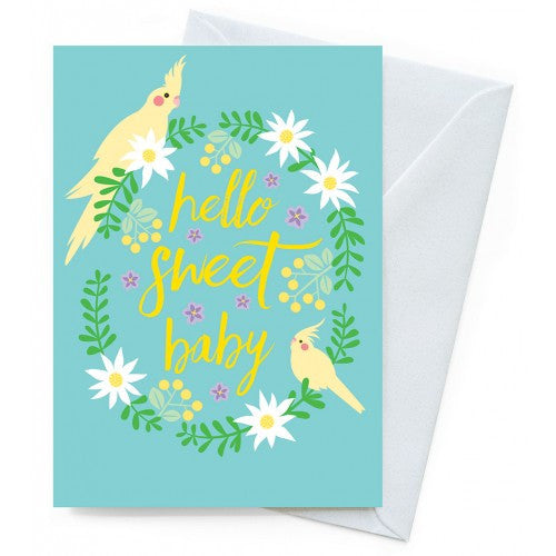 Earth Greetings - 100% Earth Friendly Gift Cards - New Baby - Cockatiels